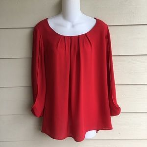 Red Blouse New Direction 3/4 sleeves Flowy Medium